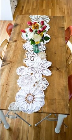 DIY: Doily sewn together to make a table runner.