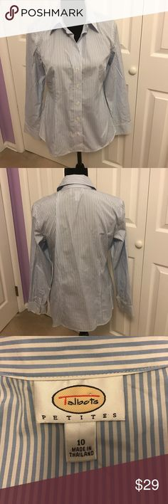 Talbots Petites Size: 10 Dress Shirt Talbots Blue and white vertical stripes. Size: 10 Petites. Great top for work! If you are interested in making an offer please do so using the offer button 🔹 only reasonable offers will be considered 🔹 no trades 🔹 thanks for shopping my closet! Talbots Tops Button Down Shirts
