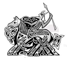 Odin riding Sleipnir, his eight-legged horse. He holds Gungnir, the spear that never misses its intended target.