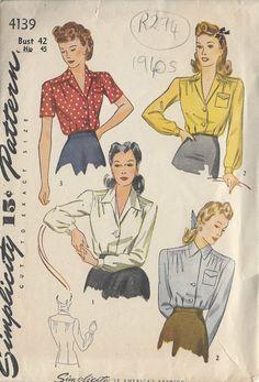 ITEM DESCRIPTION: ~ Circa/Date: 1940s ~ Details: BLOUSE ~ Size/Measurements (Inches): Size: ~ BUST: 42 Waist: 36 Hip: 45 ~ Condition: Brand New Reproduced Copy. All pieces present and correct, with full instructions. ~ Please Note: You are buying a Professional Digitally Reproduced copy of this sewing pattern (copied from the original sewing pattern), produced in Full Scale Pattern Pieces ready to cut with full instructions included. All reproduced to this quality high s...