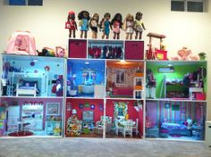 Happy American Girl Doll House Customer at Play - Customized Doll Houses for American Girl 18 . American Girl Storage, American Girl Doll Room, American Girl House, American Girl Crafts, American Dolls, American Girl Outfits, Girl Doll Clothes, Girl Dolls, Ag Dolls