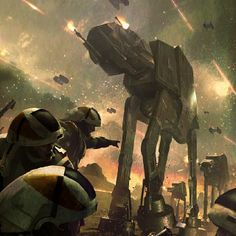 Star wars | Imperial AT-AT's attacking Rebel soldiers