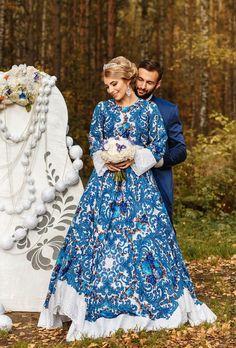 """Купить """"Невестам"""" в Русском стиле - разноцветный, цветочный, гжель, платье невесты, невеста в русском стиле"""
