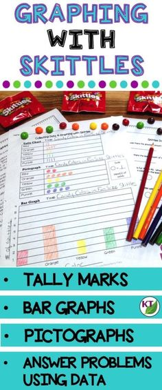 Graphing with Skittles lesson for 2nd grade with tally marks, bar graphs, and pictographs.