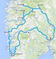 Itinéraire - Site de deparlemonde ! Stavanger, Lofoten, Bergen, Oslo, Fredrikstad, Lillehammer, Places To Go, Camping, Map