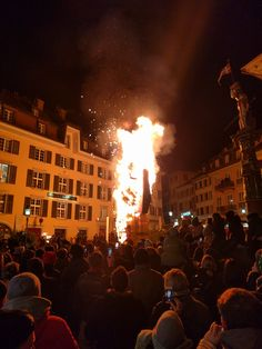 Burning the Böögg in Solothurn (Switzerland) to mark the end of Fasnacht. Basically a towering inferno packed with fireworks in the middle of the old town.