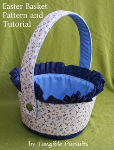 Tangible Pursuits: Easter Basket: Free Pattern and TutorialName: 'Sewing : Ruffled Fabric Basket You're going to love Ruffled Fabric Basket by designer Emily W.March brings us many things including Easter, this year. Sewing Patterns Free, Free Sewing, Fabric Boxes, Fabric Basket, Ruffle Fabric, Ruffle Trim, Rabbit Crafts, Basket Crafts, Tote Pattern