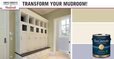 Mudroom Makeover & Paint Color Inspiration Add paint color to your mudroom to transform the space! A color palette of a soft green, cream white and soft blue is great for this space. Share your mudroom makeover project with us using #MyMenardsDIY . We want to see your room makeovers & paint color choices!