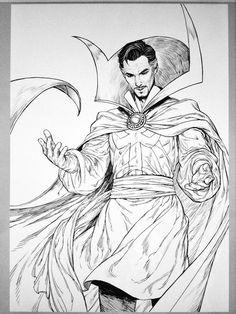 Vintage style (black and white) by 백작伯爵 @sh2jw doctor strange fan art