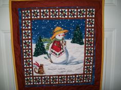 Snowman with cat wall quilt winter scene by ExpressionQuilts, $18.00