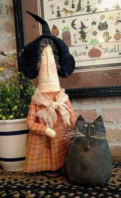 Elvira Stump and Winthrop Primitive dolls Halloween Quilts, Halloween Doll, Halloween Crafts For Kids, Fall Halloween, Halloween Decorations, Fall Sewing, Fall Quilts, Monster Dolls, Autumn Crafts
