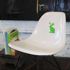 Small Jackalope vinyl decal sticker by TastySuite on Etsy Office Walls, Colorful Furniture, Neon Green, Custom Stickers, Vinyl Decals, Chair, Nursery Ideas, Prints, Creatures