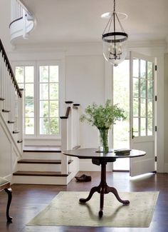american foursquare interior beautiful entryways foyer stairway stair landing white interiors custom homes design your own house Donald Lococo architect washington dc