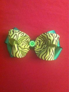 Green Zebra Bow Hair Clip by LRSBowtique on Etsy, $3.00