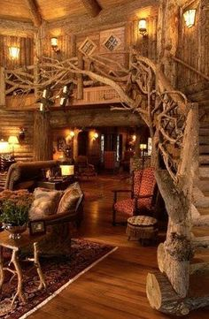 Rustic lovers dream! Look at that staircase!