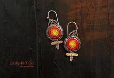 Author Artisan jewelry, Silver earrings, Enameled earrings, Hundertwasser style, Red jewelry, Unique jewelry, Flower, Round earrings