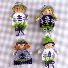 free knitting pattern - Lavender Sachet Dolls pattern by Wendy Phillips