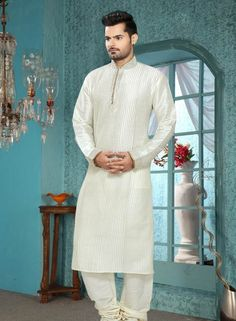 Cream  designer mens kurta pajama in art silk C15213