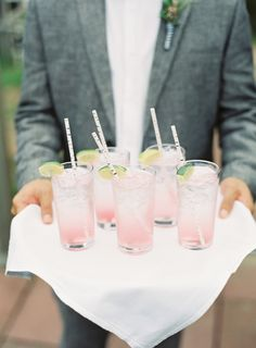 Pantone Colors of the Year Rose Quartz + Serenity Wedding Details - Cocktail Hour.
