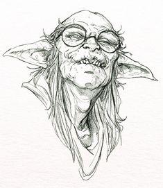 Character Sketches, Art Sketches, Character Art, Monster Sketch, Monster Art, Drawing Hair Tutorial, Goblin Art, Monochromatic Art, Dark Souls Art