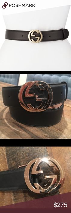 GUCCI Adjustable Black Leather Belt w/Gold GG's This is what a real Gucci belt looks like. There are so many fakes on here, it's ridiculous. Anyway, this is an 85. Black with gold GG's. 3.7 cm's. The buckle has some scratches. I've only worn this belt about 5 times, but I guess it scratches very easily. Lovely belt, not really wearing it much though. I bought it last May from Sak's. Gucci Accessories Belts