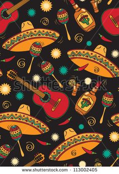vector seamless from mexican music - stock vector