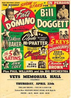 1957 rock & roll review tour poster for Columbus Ohio.. I was there...