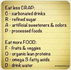 Fitness motivation: Eat Less Crap - Workout Obsession Healthy Habits, Get Healthy, Healthy Tips, Healthy Choices, Eating Healthy, Healthy Weight, Healthy Recipes, Easy Recipes, Healthy Foods