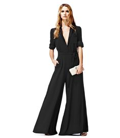 wide leg long sleeve black jumpsuit by Reiss