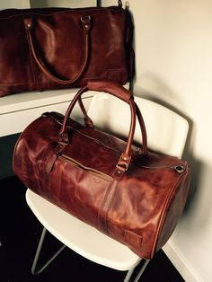 Two favourite pieces... vintage brown leather weekender