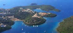 Aerial view on the village of Sivota, Greece Yacht Charter Greece, Greek Island Holidays, Greece Photography, Greece Holiday, Paradise On Earth, Greece Islands, Green Landscape, Colorful Garden, Aerial View