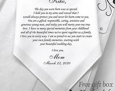 My son is getting married-Wedding Gift For Groom From Mom-Custom Printed Hanky- Free Gift Box/Code: Wedding Gifts For Groom, Wedding Wishes, Wedding Day, Wedding Wows, Wish Gifts, High Gloss Paint, Wedding Handkerchief, Gifts For Brother, Vinyl Wall Art