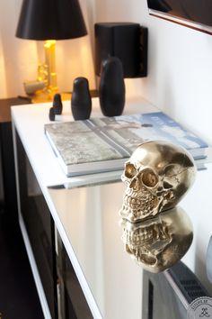 Black & Gold Gun lamp /Matt Black Russian Dols/ Mirror / Antique silver skull