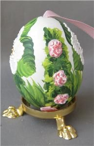 Hand Painted Austrian Easter Eggs   Austrian hand-painted blown real Easter Egg PURPLE PINK WHITE Germany ...