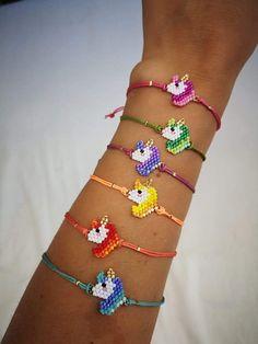 Unicorns Unicorn Bracelet Miyuki bracelet bracelet for girls miyuki delica gift for girls accesories for girls Perler Bead Designs, Fuse Beads, Perler Beads, Loom Beading, Beading Patterns, Unicorn Jewelry, Motifs Perler, Birthday Gifts For Girls, Birthday Kids