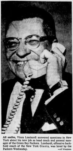 Vince Lombardi leaves his position as offensive backfield coach for the NY Giants and heads over to the Packers where he changes the team's destiny, starting in 1959