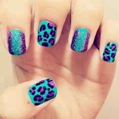 Aqua purple leopard