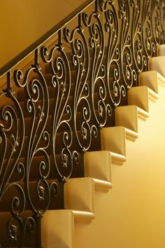 Wrought iron staircase designed in the classical style