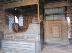 A hand-painted interior of a traditional wooden house can be seen at the Norwegian Museum of Culture and History in Oslo.