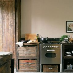 rustic and commercial-looking kitchen by ooh_food, via Flickr