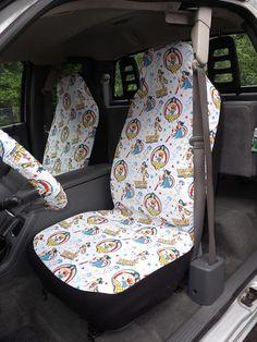 1 Set Of DC Wonder Woman Print Seat Covers And Steering Wheel
