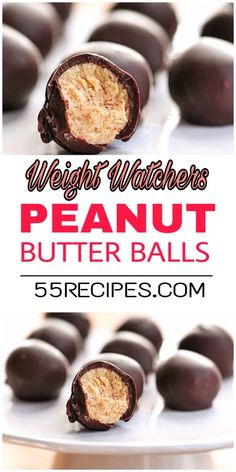 Weight watchers desserts: Peanut butter balls – 2 SmartPoints On the weight watchers diet and in the mood for something sweet? Here are 30 delicious weight watchers desserts recipes with SmartPoints for you to try! Weight Watcher Desserts, Weight Watchers Snacks, Plats Weight Watchers, Weight Watchers Brownies, Weight Watcher Cookies, Ww Desserts, Healthy Dessert Recipes, Healthy Breakfasts, Breakfast Recipes