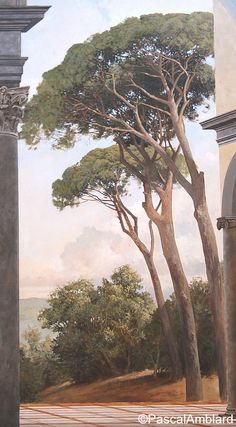 Pine tree on a decorative panel by Pascal Amblard, in Ipedec in 2003
