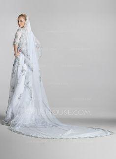 One-tier Chapel Bridal Veils With Lace Applique Edge (006004974)