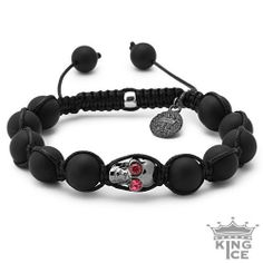 Black Plated Agate Bead Pink CZ Hip Hop Skull Bracelet King Ice. $39.99. Adjustable Size. 90 Day Warranty. Skull Bead Bracelet. Celebrity Style. Disco Ball Jewelry. Save 50%!