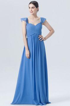 sweetheart blue cap sleeves crisscross ruched a line long chiffon bridesmaid  dress 1486e1397852