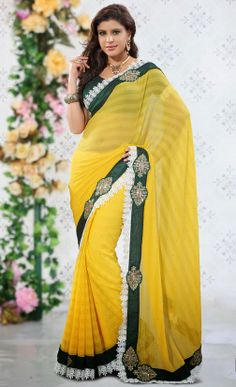 Delightful Yellow Saree