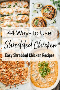 Here are 44 ways to use leftover chicken with these EASY shredded chicken recipes. Ideas for dinners quick lunches appetizers and more! Leftover Shredded Chicken Recipe, Easy Shredded Chicken, Grilled Chicken Recipes, Healthy Chicken Recipes, Recipes With Rotisserie Chicken, Leftovers Recipes, Easy Dinner Recipes, Cooked Chicken Recipes Leftovers, Quick Lunch Recipes