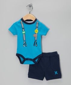 Take a look at this Blue Suspender Bodysuit & Navy Shorts by Hurley on #zulily today!