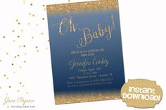 Invite your guests to a gorgeous baby shower with these fun printable invitations. Our templates are easy to edit in Acrobat Reader. INSTANT DOWNLOAD Navy Blue Gold Glitter Accents Baby Shower Editable Printable Invitation perfect for a classic baby shower celebration. Find more coordinating printables at JanePaperie: https://www.etsy.com/shop/JanePaperie